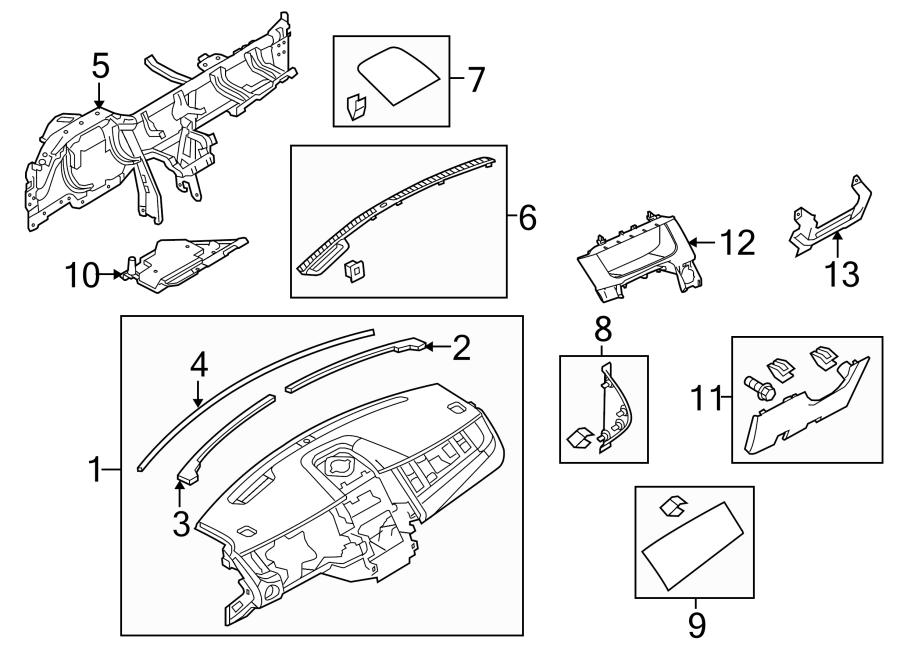 Ford Taurus Instrument Panel Knee Bolster  2013